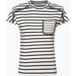 Marc Cain Collections - T-shirt damski, czarny. Czarne t-shirty damskie Marc Cain Collections, w paski, z falbankami. Za 639,95 zł.
