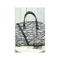 Klasyczna torebka w stylu biznesowym animal print ZEBRA od MANZANA. Czarne kuferki damskie marki Parfois, w paski, z materiału, do ręki, średnie. Za 159,00 zł.