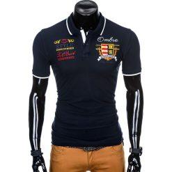 KOSZULKA MĘSKA POLO Z NADRUKIEM S907 - GRANATOWA. Niebieskie koszulki polo Ombre Clothing, m, z nadrukiem. Za 59,00 zł.