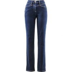 """Dżinsy ze stretchem bonprix ciemnoniebieski """"stone"""". Niebieskie jeansy damskie marki bonprix, z nadrukiem. Za 79,99 zł."""