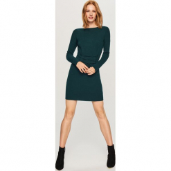 Sukienka z gorsetowym wiązaniem - Khaki. Brązowe sukienki z falbanami marki Reserved, m, z gorsetem, gorsetowe. W wyprzedaży za 59,99 zł.