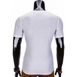 T-shirty męskie: T-SHIRT MĘSKI Z NADRUKIEM S838 – BIAŁY