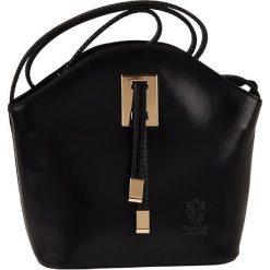 Torebki klasyczne damskie: Skórzana torebka w kolorze czarnym – 19 x 20 x 9 cm