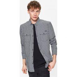 Koszula w drobną kratę - Jasny szary. Niebieskie koszule męskie marki Cropp, l, z bawełny. Za 69,99 zł.