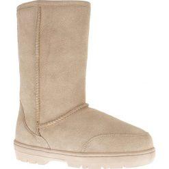 """Buty zimowe damskie: Skórzane kozaki """"Guy"""" w kolorze piaskowym"""