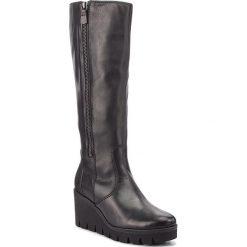 Kozaki GABOR - 93.789.27 Schwarz. Czarne buty zimowe damskie Gabor, z materiału, na obcasie. Za 789,00 zł.