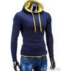 BLUZA MĘSKA Z KAPTUREM CAMILO - GRANATOWO-ŻÓŁTA. Niebieskie bejsbolówki męskie Ombre Clothing, m, z bawełny, z kapturem. Za 49,00 zł.