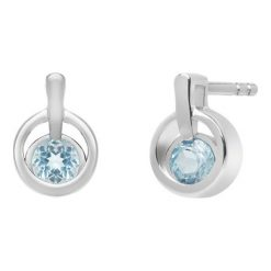 Kolczyki damskie: Piękne Kolczyki Srebrne – srebro 925, Topaz swiss blue