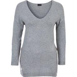 Sweter z aplikacją z cekinów bonprix jasnoszary melanż. Szare swetry klasyczne damskie bonprix. Za 99,99 zł.