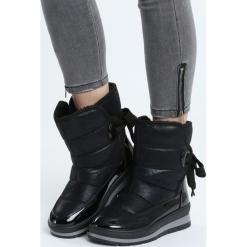 Czarne Śniegowce Dress On. Czarne buty zimowe damskie Born2be, z materiału. Za 99,99 zł.