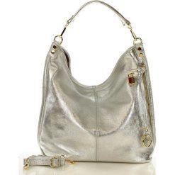 Skóra naturalna torebka worek Isabella żółta srebrny silver. Szare torebki worki MAZZINI, ze skóry. Za 279,90 zł.