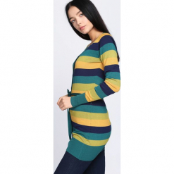 Zielono-Żółty Sweter Miracles. Zielone swetry rozpinane damskie Born2be, l. Za 29,99 zł.