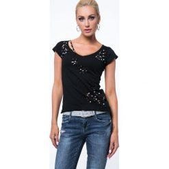 Koszulka z dziurami czarna ZZ1056. Czarne bluzki na imprezę Fasardi, l. Za 49,00 zł.
