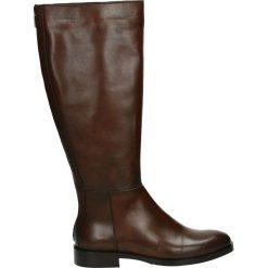 Kozaki - NELLY-D-69L D. Brązowe buty zimowe damskie marki Kazar, ze skóry, przed kolano, na wysokim obcasie. Za 639,00 zł.