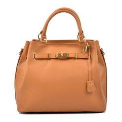 Torebki klasyczne damskie: Skórzana torebka w kolorze koniaku – (S)30 x (W)38 x (G)20 cm