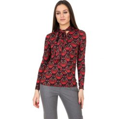 Bluzki asymetryczne: Bordowa bluzka z długim rękawem i szarfą pod szyją BIALCON