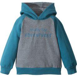 Bluza z kapturem bonprix niebieskozielono-szary melanż. Szare bluzy chłopięce rozpinane marki TARMAK, m, z bawełny, z kapturem. Za 44,99 zł.