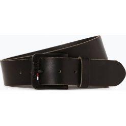 Tommy Jeans - Męski pasek skórzany, czarny. Czarne paski męskie Tommy Jeans, w paski, z jeansu, klasyczne. Za 179,95 zł.