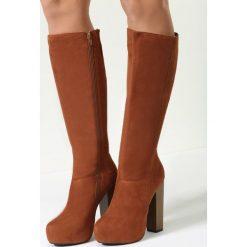 Camelowe Kozaki Walk Around. Brązowe buty zimowe damskie marki other, z materiału, z okrągłym noskiem, na wysokim obcasie, na obcasie. Za 84,99 zł.