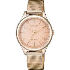 ZEGAREK CITIZEN Lady EM0503-83X. Czerwone, analogowe zegarki damskie CITIZEN, sztuczne. Za 690,00 zł.