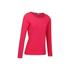 Koszulka długi rękaw Gym & Pilates 100 damska. Czerwone topy sportowe damskie marki DOMYOS, m, z bawełny, z długim rękawem. W wyprzedaży za 16,99 zł.