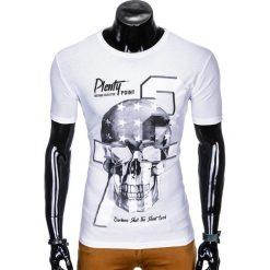 T-shirty męskie: T-SHIRT MĘSKI Z NADRUKIEM S995 - BIAŁY