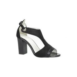 Rzymianki damskie: Sandały Jezzi  Czarne sandały na obcasie  SA109-5