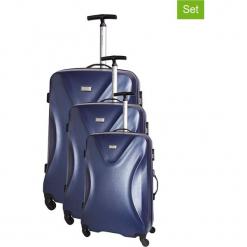 Zestaw walizek w kolorze granatowym - 3 szt. Niebieskie walizki Platinium, z materiału. W wyprzedaży za 619,95 zł.