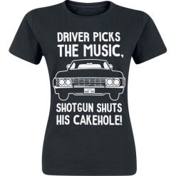 Supernatural Driver Picks Koszulka damska czarny. Czarne bluzki z odkrytymi ramionami Supernatural, s, z nadrukiem, z okrągłym kołnierzem. Za 54,90 zł.