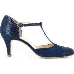 Buty ślubne damskie: Czółenka z paskiem T, skórzane błyszczące