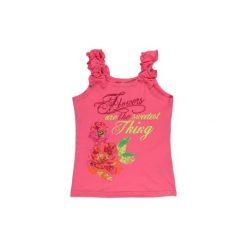 Bluzka dziewczęca bezrękawnik. Różowe bluzki dziewczęce bawełniane TXM, z napisami, na ramiączkach. Za 9,99 zł.