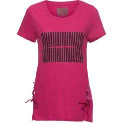T-shirt bonprix jeżynowy z nadrukiem. Fioletowe t-shirty damskie bonprix, z nadrukiem, ze sznurowanym dekoltem. Za 27,99 zł.
