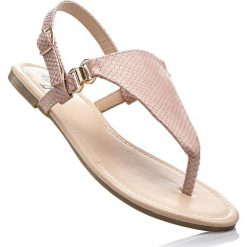 Sandały japonki bonprix jasnoróżowy. Czerwone klapki damskie bonprix, ze skóry. Za 37,99 zł.