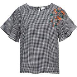 Bluzka z haftem bonprix biało-czarny w kratę. Czarne bluzki z odkrytymi ramionami marki bonprix, z nadrukiem. Za 59,99 zł.
