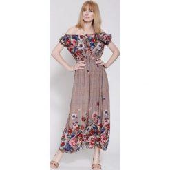 Sukienki: Brązowo-Granatowa Sukienka Boho Flower