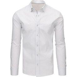 Koszule męskie na spinki: Biała koszula męska we wzory z długim rękawem (dx1498)