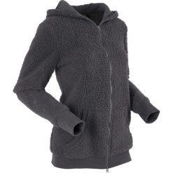 """Bluza z polaru """"baranek"""", długi rękaw bonprix szary. Szare bluzy polarowe bonprix, z długim rękawem, długie. Za 129,99 zł."""