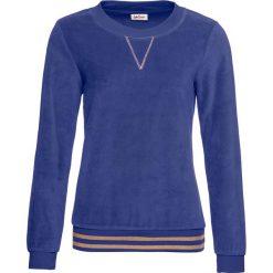 Bluza z dzianiny welurowej nicki bonprix szafirowy. Niebieskie bluzy damskie bonprix, z dzianiny. Za 89,99 zł.
