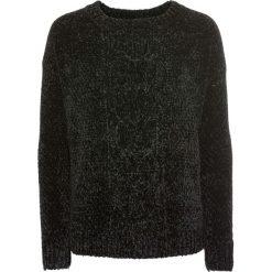 Sweter z szenili bonprix czarny. Czarne swetry klasyczne damskie bonprix, z wełny. Za 79,99 zł.