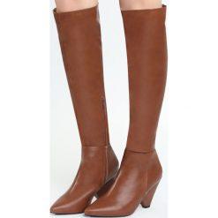 Camelowe Kozaki Turned Off. Brązowe buty zimowe damskie marki Born2be, na wysokim obcasie. Za 99,99 zł.