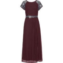 Sukienka wieczorowa bonprix bordowy. Czerwone długie sukienki marki bonprix, z szyfonu, wizytowe, z długim rękawem. Za 169,99 zł.