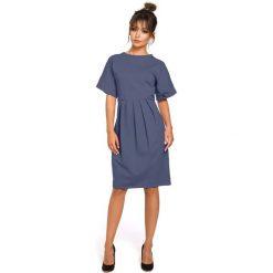 Niebieska Sukienka Dresowa z Zakładkami. Niebieskie sukienki dresowe marki Molly.pl, na co dzień, l, z krótkim rękawem, midi, oversize. Za 132,90 zł.