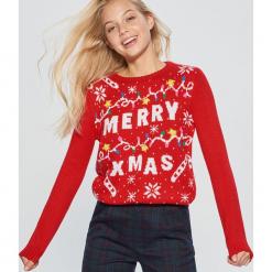 Świąteczny sweter - Czerwony. Czerwone swetry klasyczne damskie Cropp, l. Za 99,99 zł.