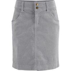 Spódnica sztruksowa bonprix szary. Zielone spódniczki marki bonprix, w kropki, z kopertowym dekoltem, kopertowe. Za 74,99 zł.