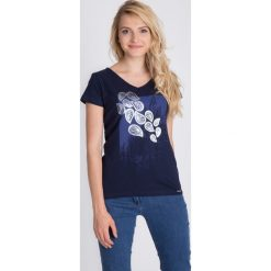 Bluzki asymetryczne: Granatowa bluzka z printem QUIOSQUE