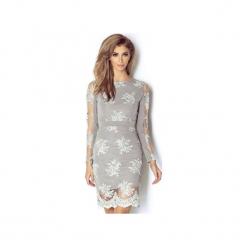 Sukienka Paris. Szare długie sukienki marki Wow fashion, w koronkowe wzory, z dzianiny, wizytowe, z długim rękawem, dopasowane. Za 599,00 zł.