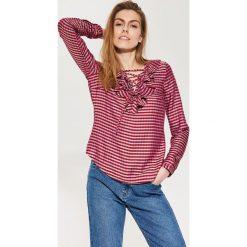 Bluzki asymetryczne: Bluzka z falbaną - Czerwony