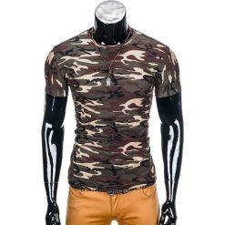 T-shirty męskie: T-SHIRT MĘSKI BEZ NADRUKU S852 – BRĄZOWY