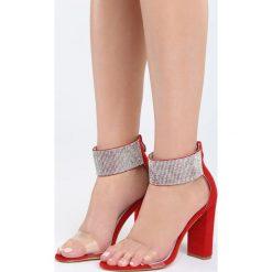Czerwone Sandały Snobbish. Czerwone sandały damskie na słupku Born2be, z materiału, na wysokim obcasie. Za 89,99 zł.