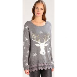 Swetry klasyczne damskie: Cream CHRISTMAS Sweter light grey melange
